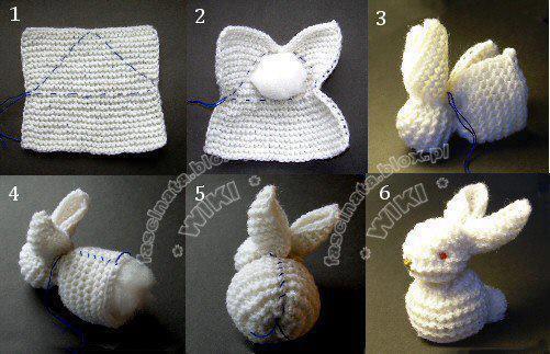 Ecco come realizzare il coniglio da un quadrato di maglia legaccio