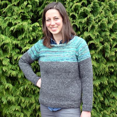 LHgan ha seguito le istruzioni di base di Barbara G. Walker per il maglione raglan semplicemente usando due colori dello stesso filato