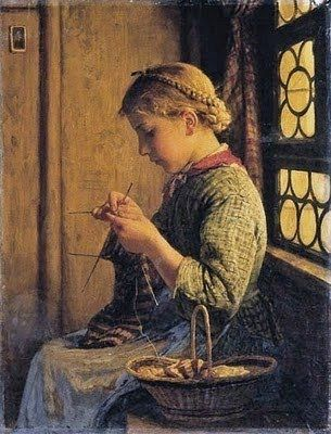 Girl Knitting by Albert Anker (1878)