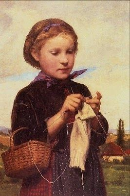 Albert Anker (1831-1910) Knitting girl