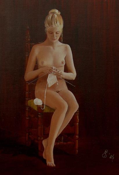 """Elly Geiser, """"Knitting Naked"""", 1986"""