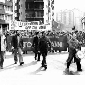 Manifestazione operaia a Sesto negli anni Settanta