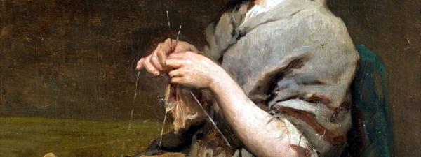 Jules Breton, Ragazza che lavora ai ferri (1860)