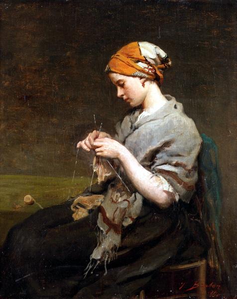 Jules Breton (1827–1906), Ragazza che lavora ai ferri (1860), olio su tela, 36 × 30 cm, collezione privata. (Wikimedia Commons.)