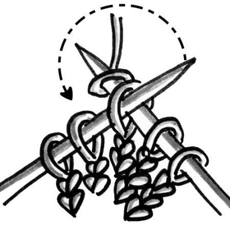 lavorazione di una maglia a diritto