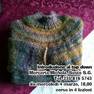 maglione top down con sprone tondo